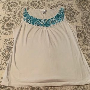 Loft tank top with embroidery